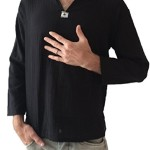 Men's Black Shirt 100% Cotton Thai Hippie Yoga Shirt