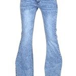 Cindy H 60s 70s Style Vintage Wash Flares Faded Bell-Bottom Wide Flared Jeans – Blue