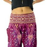 Tori Wear Women's Smocked Waist Baggy Bohemian Harem Pants