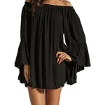 ZANZEA Women's Sexy Off Shoulder Chiffon Boho Ruffle Sleeve Blouse Mini Dress