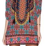 Women Bohemian Neck Tie Floral Print Ethnic Style Shift Dress