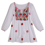 Women's Peasant Tunic Top – White Poppy Cascade Embroidered Shirt