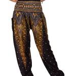 Lofbaz Women's Peacock Print Smocked Waist Harem Pants