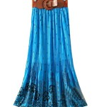 Womens Pleated Floral Print Bowknot Belt Chiffon Long Skirt Maxi Dress
