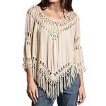 ZANZEA Women's Boho Hippie Crochet Tassel Hollow Summer Beach Top Blouse T Shirt