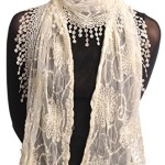 Cream Vintage Lace With Flowers – Beige Designer Scarf