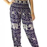 Bangkokpants Women's Yoga Pants Elephant design One Size Dark Purple