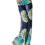 Uptown Apparel Womens Fold Over Waist Wide Leg Palazzo Pants