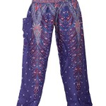 Bangkokpants Women's Boho Pants Peacock Design One Size Fits