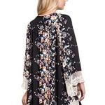 Vintage Bohemian Flower Lace Trim Shawl Cardigan Chiffon Kimono Blouse Cardigan