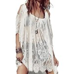 Hippie Boho People Embroidery Floral Lace Crochet Mini Party Dress Tops