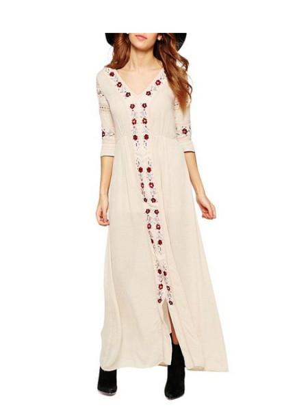 Chicnova Women Bohemian Embroidery Floral Print V Neck three-quarter  Sleeve Long Dress