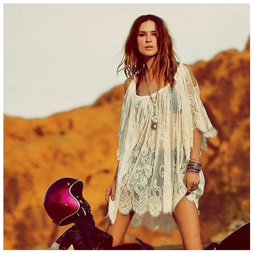 GBSELL Vintage Hippie Boho People Embroidered Floral Lace Crochet Mini Dress -2