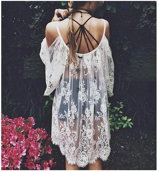 GBSELL Vintage Hippie Boho People Embroidered Floral Lace Crochet Mini Dress -3