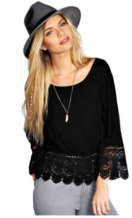 MIXMAX Women Hippie Loose Long Sleeve Lace T-shirt Top
