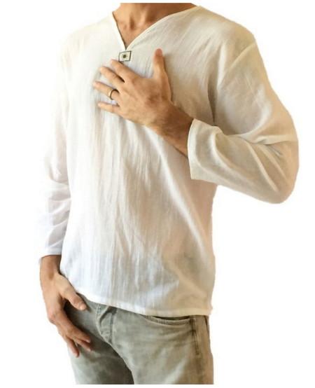 Men's White T-shirt 100 percent Cotton Thai Hippie Shirt V-neck Beach Yoga Top