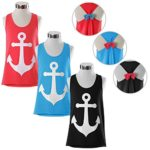SlickBlue Womens Sleeveless Hollow Out Anchor Tank Top Back Bowknot T-Shirt Blouse