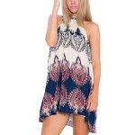 MIOIM BOHO hippie Ladies Long Top Blouse Summer Women Sleeveless Mini Dress S-XL