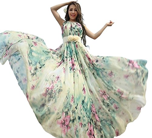fdd28cffe6 MedeShe Women's Summer Floral Long Beach Maxi Dress Lightweight Sundress