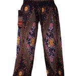 Bangkokpants Women's Yoga Pants Boho Peacock design One Size Dark black