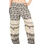 Orient Trail Women's Smocked Waist Elephant Dance Yoga Harem Pants US Size 4-18
