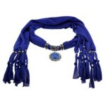 Deep blue Cotton Scarf Shawl in Silver Flower with Vintage Charm Elegant Studded Crystals Oval Shape Kallaite Color Pendant Dangle