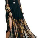 R.Vivimos® Women Chiffon Flower Printing Split Asymmetrical Long Dresses