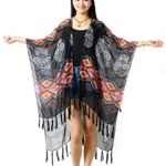 NISHAER Women's Light Loose Chiffon Tassel Bikini Kimono Cover Up Multicolored