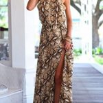 Bao Style Snake Skin Print Fashion Casual Trendy Evening Dress