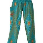 Bangkokpants Womens Hippie Boho Peacock Pants Green One Size Fits US Size 0-12