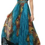 Wantdo Women's Peacock Printed Bohemian Summer Maxi Dress Plus size