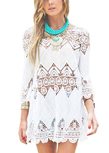 9aa1598e509 PAKULA® Women s Hollow Crochet Beach Swimwear Cover Up Blouse Dress ...