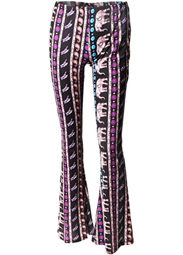 ffa6b3b97efcc Wink Gal Women Bell Bottom Printed Boho Flare Long Yoga Wide Leg Pants