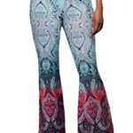HOTAPEI Women's Sexy Tie Dye Printed Flare Bell Bottom Palazzo Pants