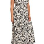 Women's Plus Size Short Sleeve Skull Print Maxi Dress – One Size