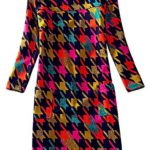 J.cotton Autumn /Winter Floral Print Long Sleeve Boat Neck A-line Tunic Casual Dress