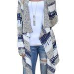 Shinekoo Women Striped Long Sleeve Asymmetric Cardigan Sweater Outwear Jacket