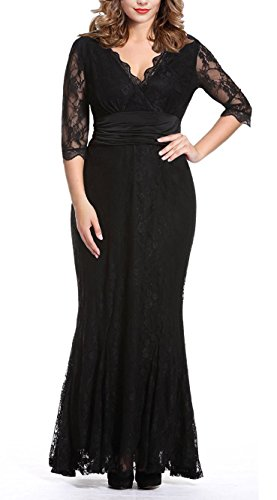 45677081207 Anfee Women s Plus Size Lace Dress V-neck Floor Evening Party Dress. Hippie Clothes  Shop ...