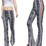 Jubileens Women's Foral Print High Waist Wide Leg Long Flare Bell Bottom Yoga Pants
