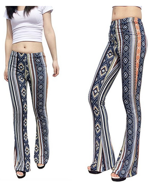 2fad5fac00ad10 Jubileens Women's Foral Print High Waist Wide Leg Long Flare Bell Bottom  Yoga Pants