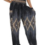 NaLuck Women's Boho Hippie Peacock Rayon Smocked Waist Yoga Harem Casual Pants