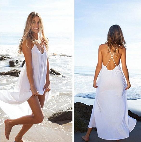 SunWard Womens Sexy Backless Deep O-Neck Beach Dress