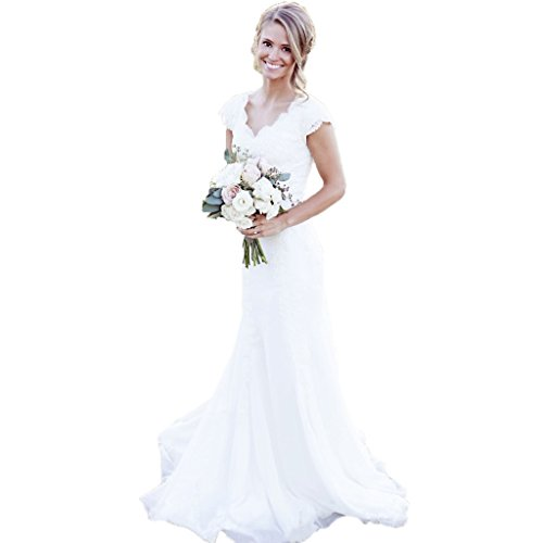 Spbridal Lace V Neck Cap Sleeves Mermaid Wedding Dress For Bride