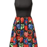 Bohemian Queen Pleated Floral A-Line Sleeveless Retro 1950s Vintage Swing Midi Cocktail Party Skater Dress With Plus Size