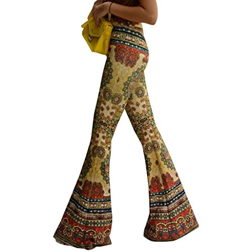 Printed Bell-bottoms Stretch Wild Leg Pants for Women Long Flared Trousers