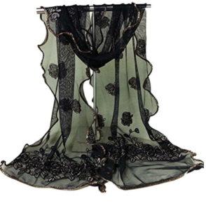 Wensltd Clearance Women Gauze Vintage Scarf Lace Rose Flower Muffle Scarf Shawl Wrap