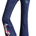 FLCH+YIGE Women's Retro Embroidery Print Slim Fit Bell-Bottom Wide Flared Jeans