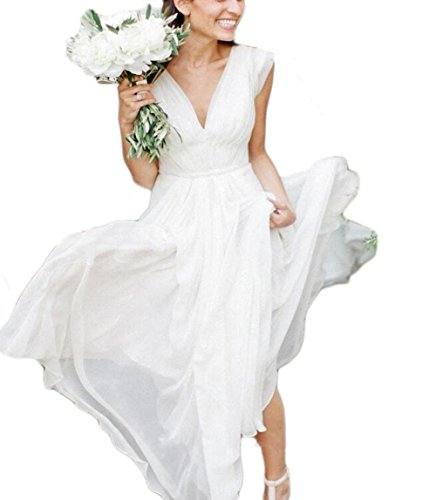 76e7154fba9 Veilace Women s Beach Boho Wedding Dress V Neck Pleats A Line Chiffon  Bohemian Bridal Gowns .