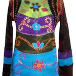 255 Agan Traders Rib Cotton Funky Embroidered Bohemian Gypsy Top Blouse