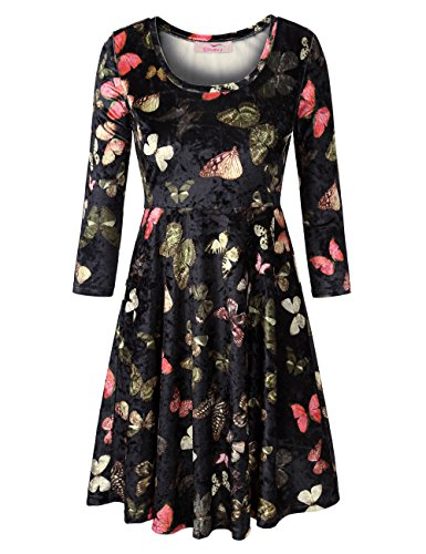 Slivexy Women's 3/4 Sleeve Scoop Neck Flared A line Swing Velvet Dress Tunic